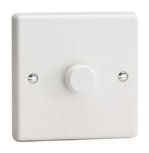 Varilight IQP1001W White Plastic 1 Gang 2-Way Push-On/Off Dimmer 100-1000W V-Plus